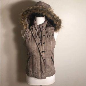 Charlotte Russe jacket vest w/ fur hood